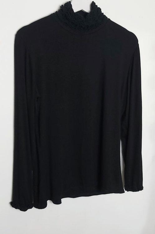 Black Basic Ruffle Neck Polo