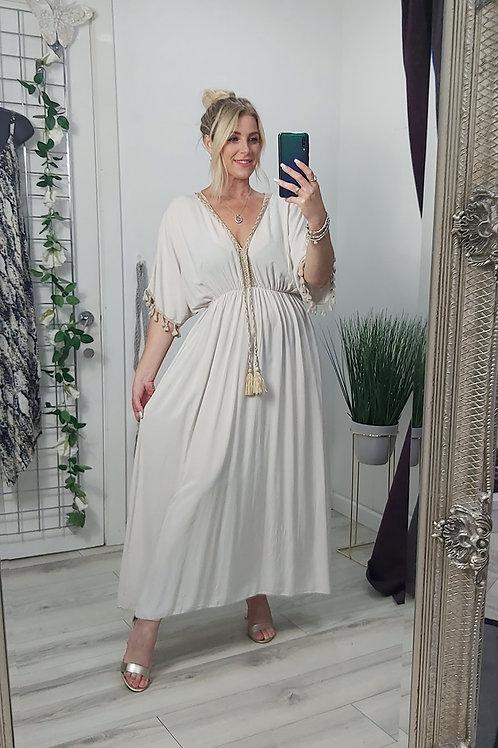 Beige Grecian Tassel Maxi Dress