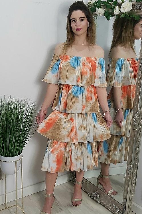 Tie Dye Pleated Off The Shoulder Dress
