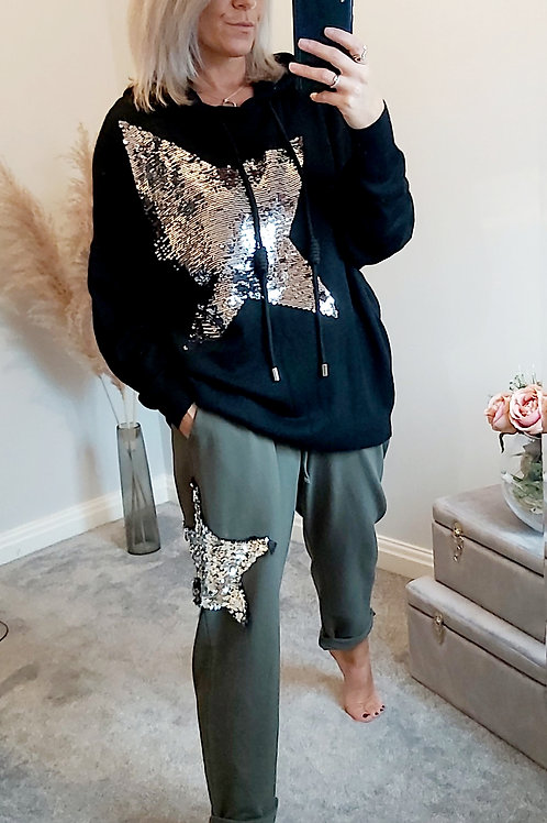 Sequin Star Slouch Joggers In Khaki