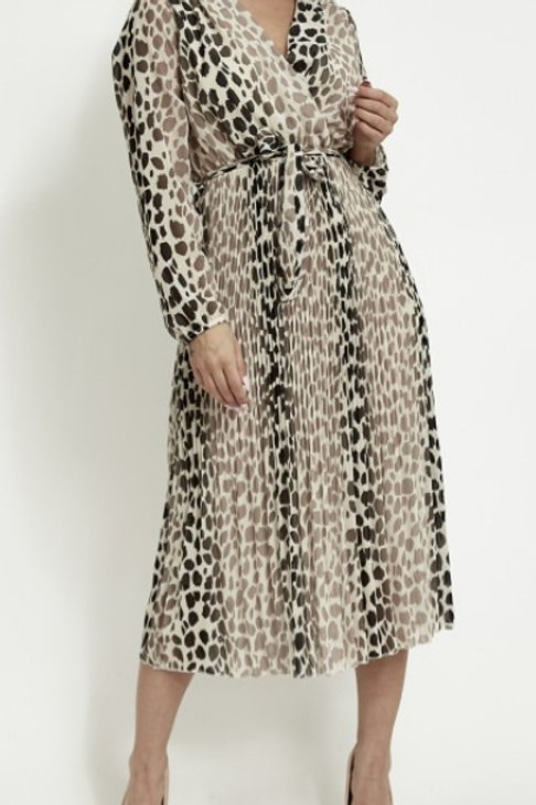 Beige Faux Wrap Animal Print Dress