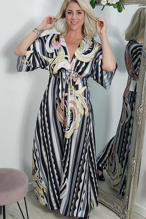 Black/Grey Multi Print Maxi Dress