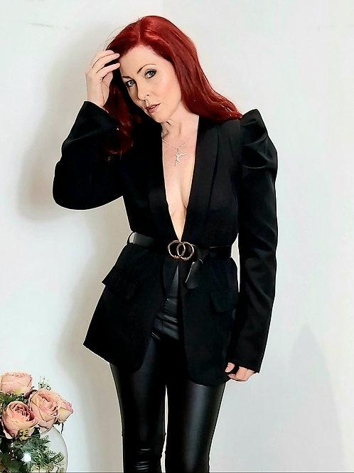 Black Ruffle Sleeve Belted Blazer