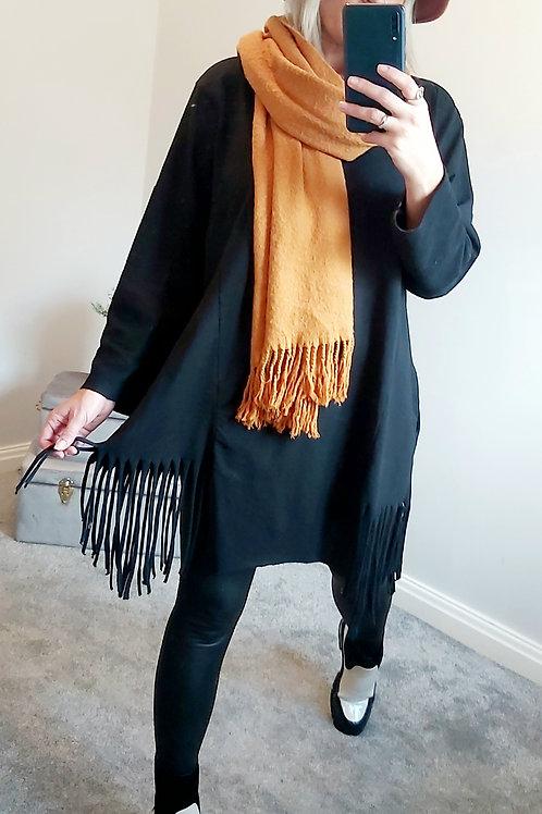 Black Oversized  Cotton Tassel Top