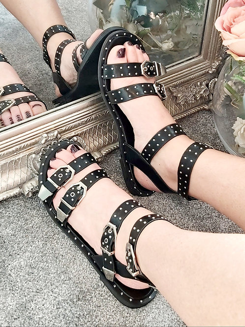 Black Stud Buckle Gladiator Sandal