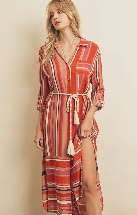 Premium Nautical Stripe Midi Dress