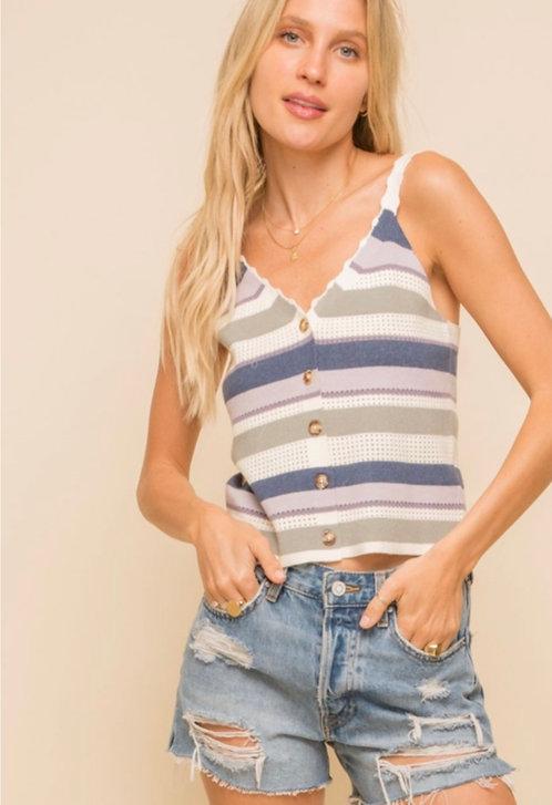 Blue Tones-striped knit crop top