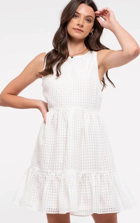 Gingham check sleeveless dress in ivory