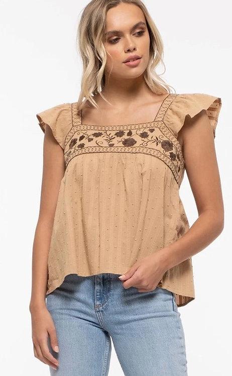 Square neckline-embroidered top in tan