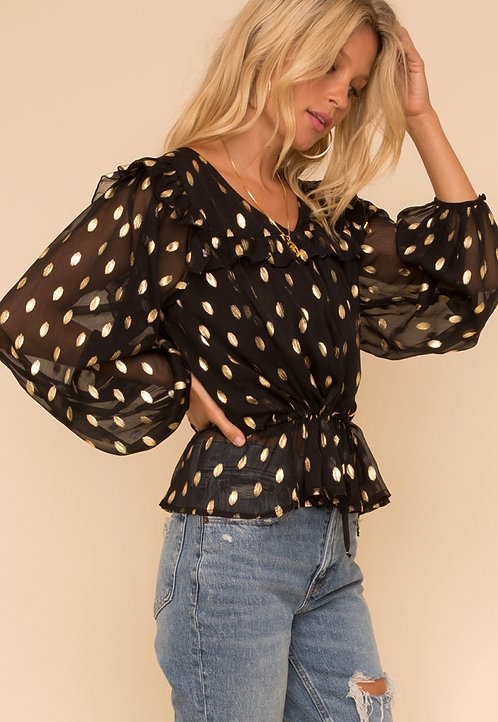Ruffled detail gold dots-long sleeve blouse