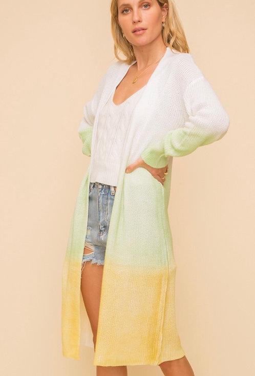 Premium Spring Green/Lemon color block Cardigan