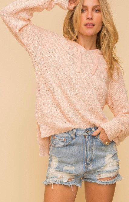 Oversized knit hoodie-blush pink