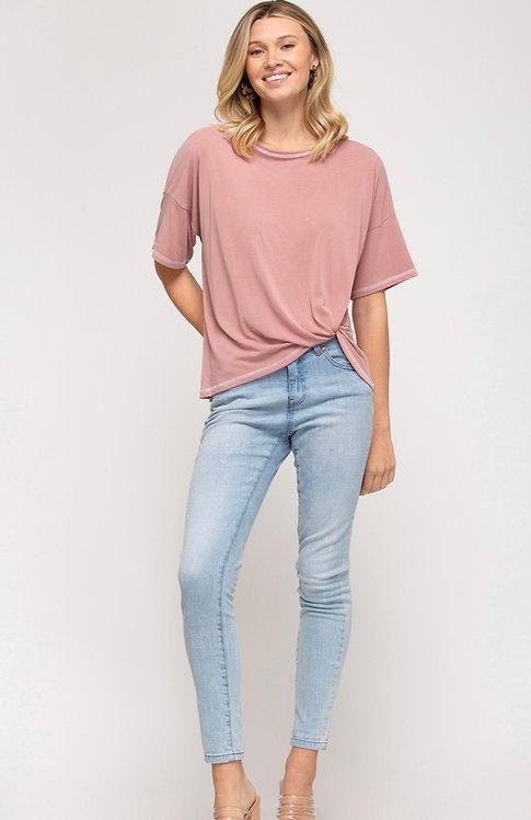 Soft Jersey Twist Tee- in Blush