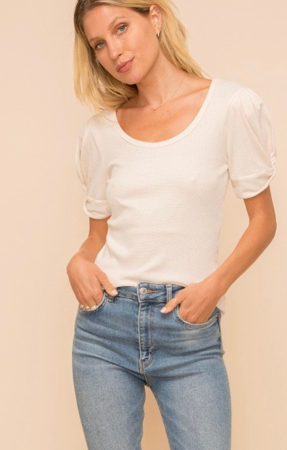 Puff detail sleeve top-Ivory