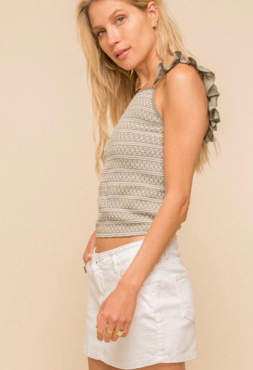 Olive/cream knit ruffle tank
