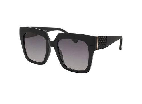 Oversized Square Sunglasses-Jet Black