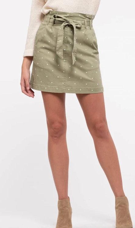 Soft olive polka dot skirt