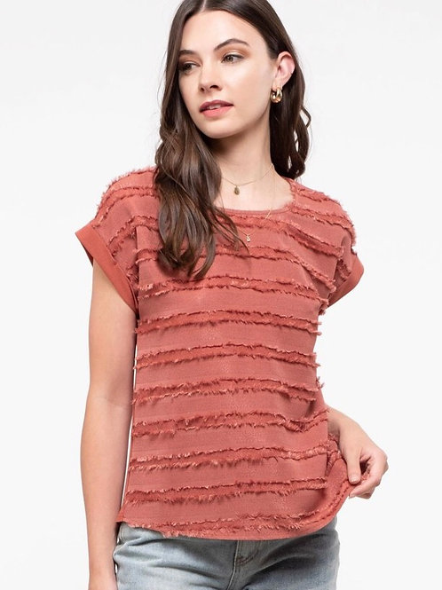 Cap sleeve woven texture tee