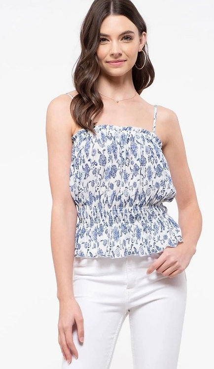Blue Floral Cami with smocking detail