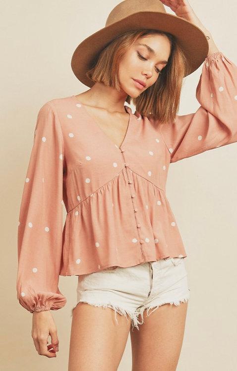 Blush Pink polka dot blouse