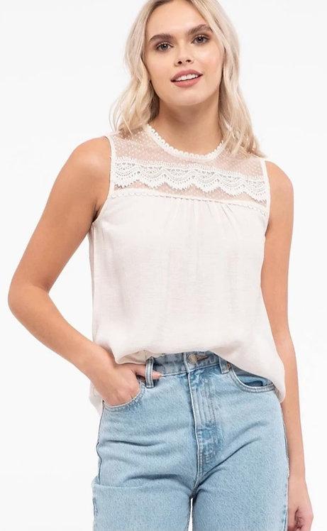 Lace yoke sleeveless top-soft stone