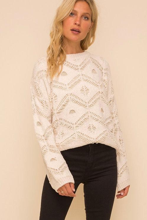 Ivory Sweater-Jaquard Overlay