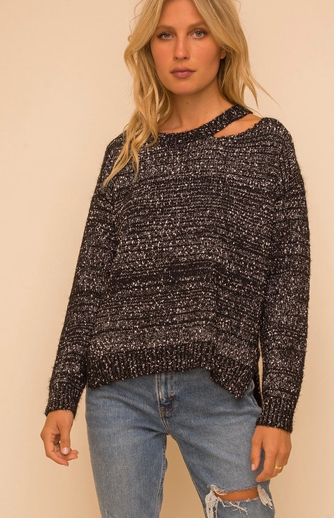Cutout Style Sweater-Black Confetti