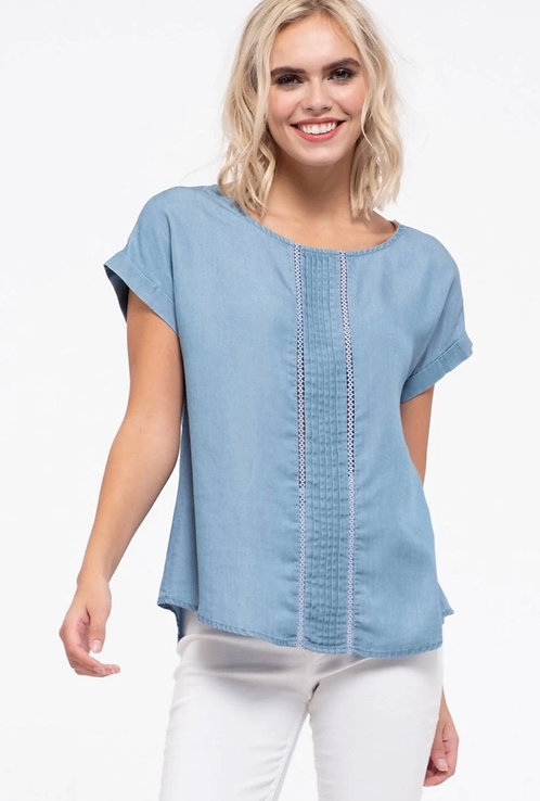 Pintuck with lace-Chambray Top