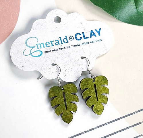 Dainty Wood Monstera Leaf Earrings