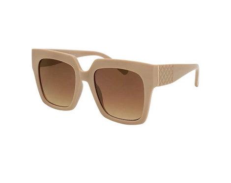 Oversized Square Sunglasses-Beige Cream