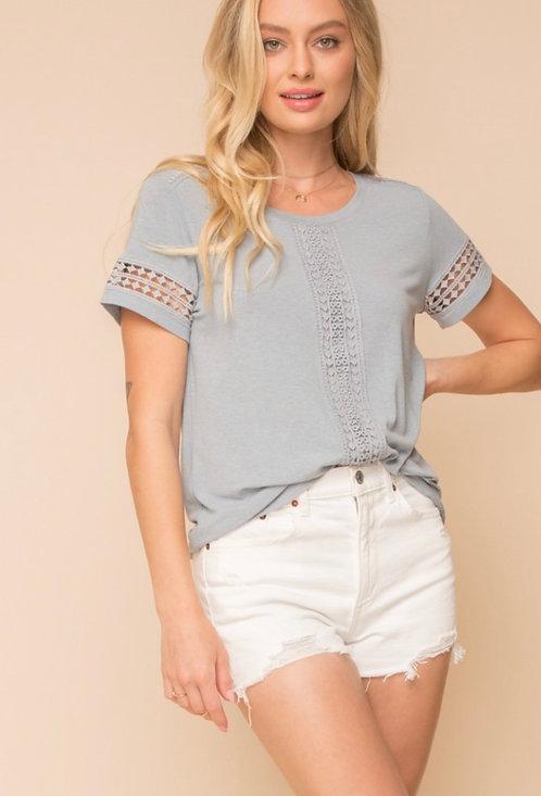 Crochet sleeve detail Tee-grey/blue