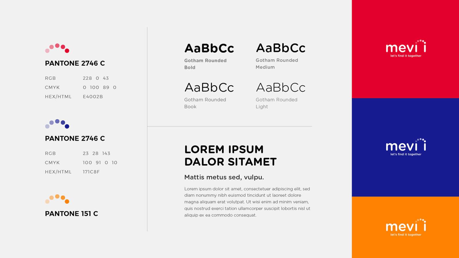 tipografía y color logo mevii