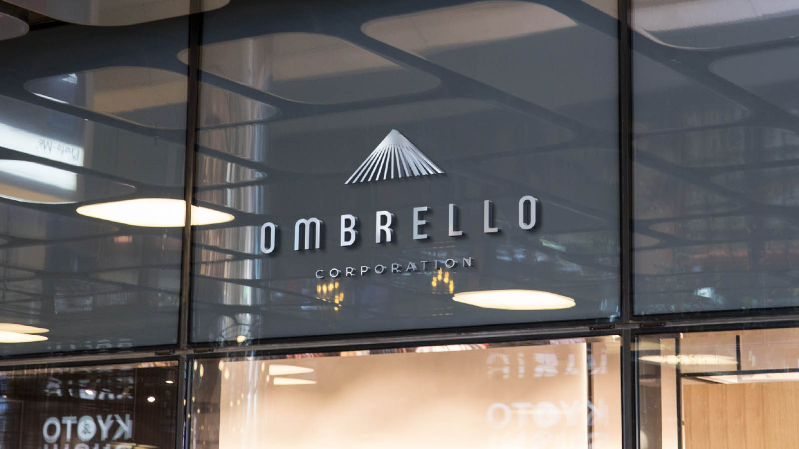 ombrello corporation diseño de logotipo mockup