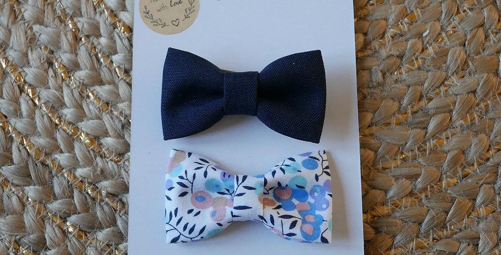Duo Barrettes LEA ( bleue marine ) / ELEONORE ( bleue )