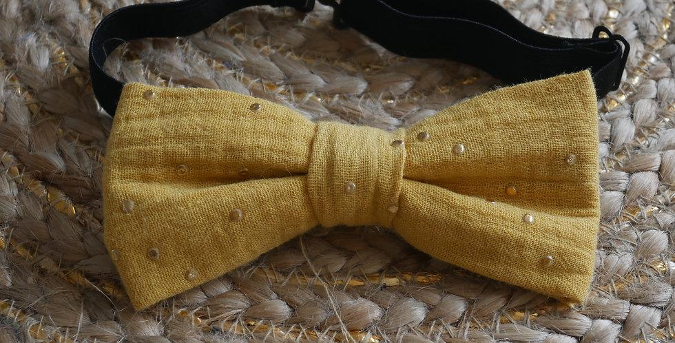 Noeud-papillon EMMA ( jaune moutarde à pois dorés )