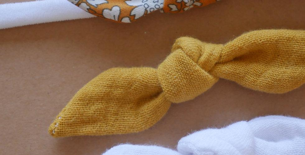 Bandeau nylon avec 3 noeuds    ( SIMON, EMMA moutarde, EMMA blanc )