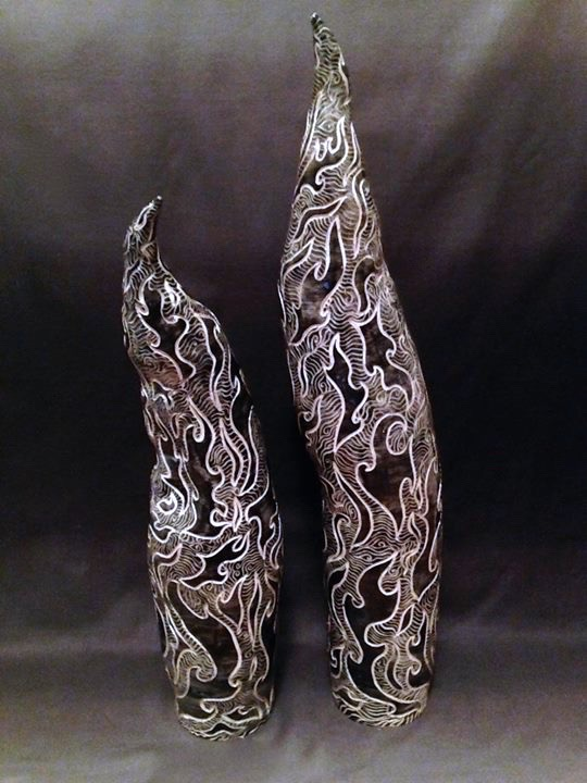 Black and White Sculpture Pair