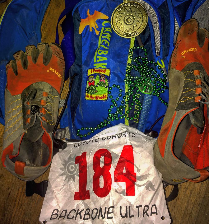 Shoes, medal, beads, dinosaur
