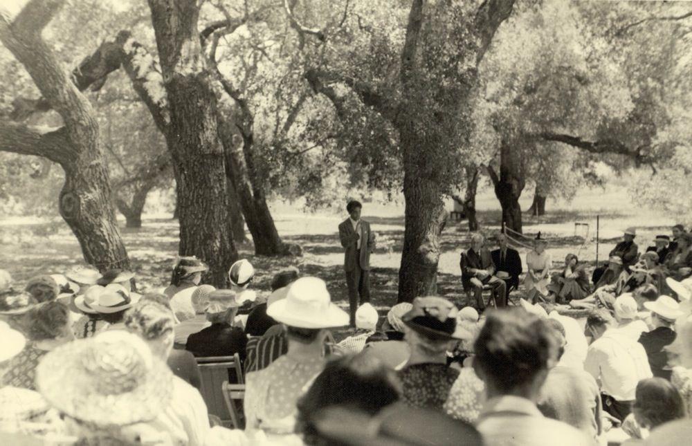 Krishnamurti speaking in the Oak Grove.
