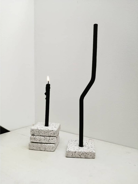 TWISTED CANDLE + COAL CANDLE + CANDLE HOLDER o