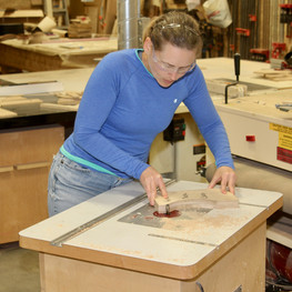 Keri at the router table
