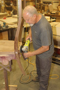 Phil shaping his second rocker