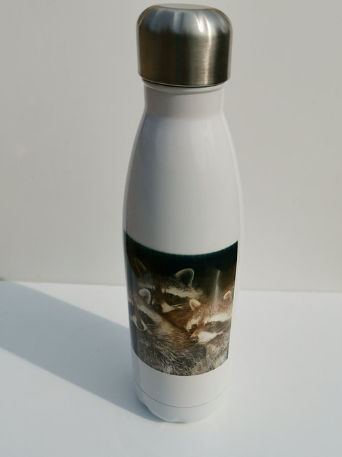 Raccoons White Thermal Bottle