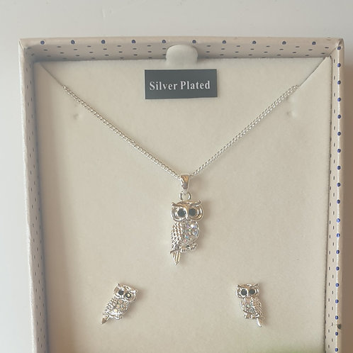 Silver Plated Owl Necklace and Earring Gift Set