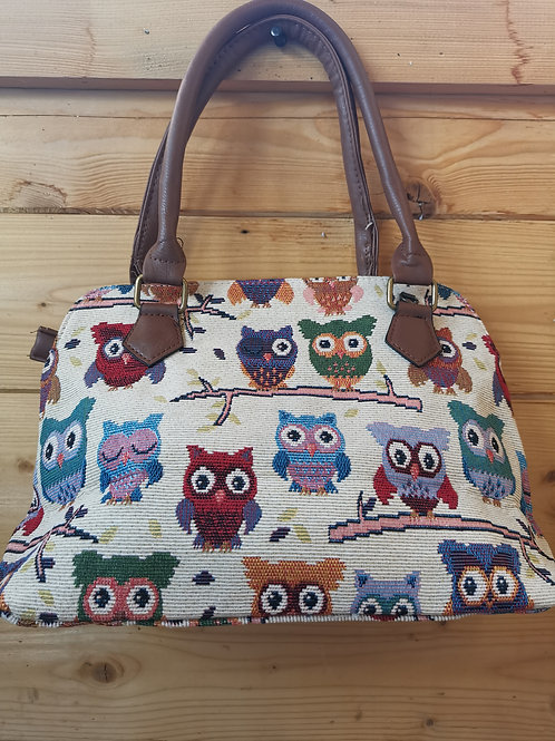 Colourful Owls Tapestry Bag