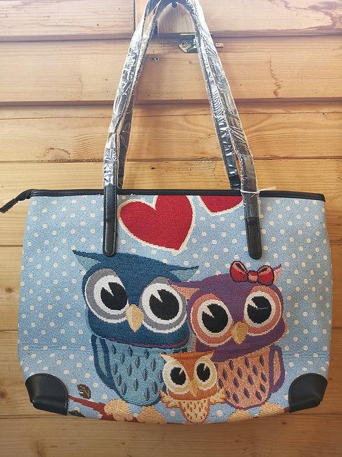 Owls blue Tapestry bag