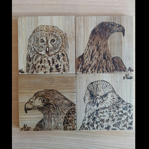 Hand made 4 coaster set of Wild Wings Birds