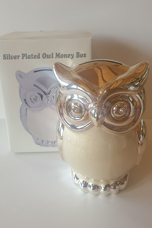 Silver Plated Owl Money Box (White)