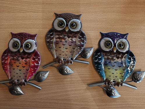 Bright Metallic Owl Small Plaque ( 3 colours shown)