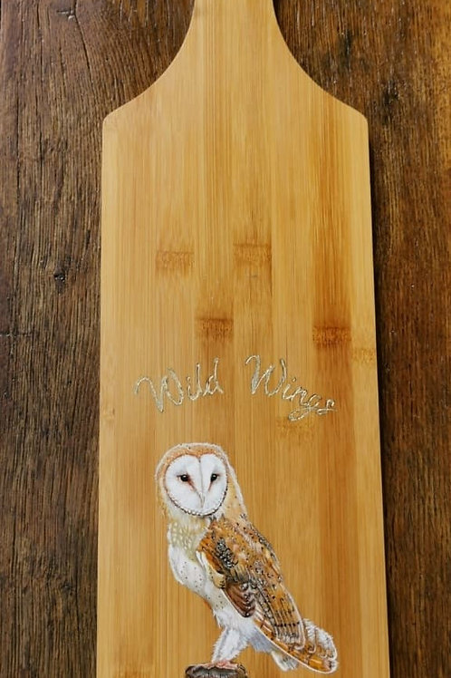 Hand Painted Bamboo Serving Board - Barn Owl